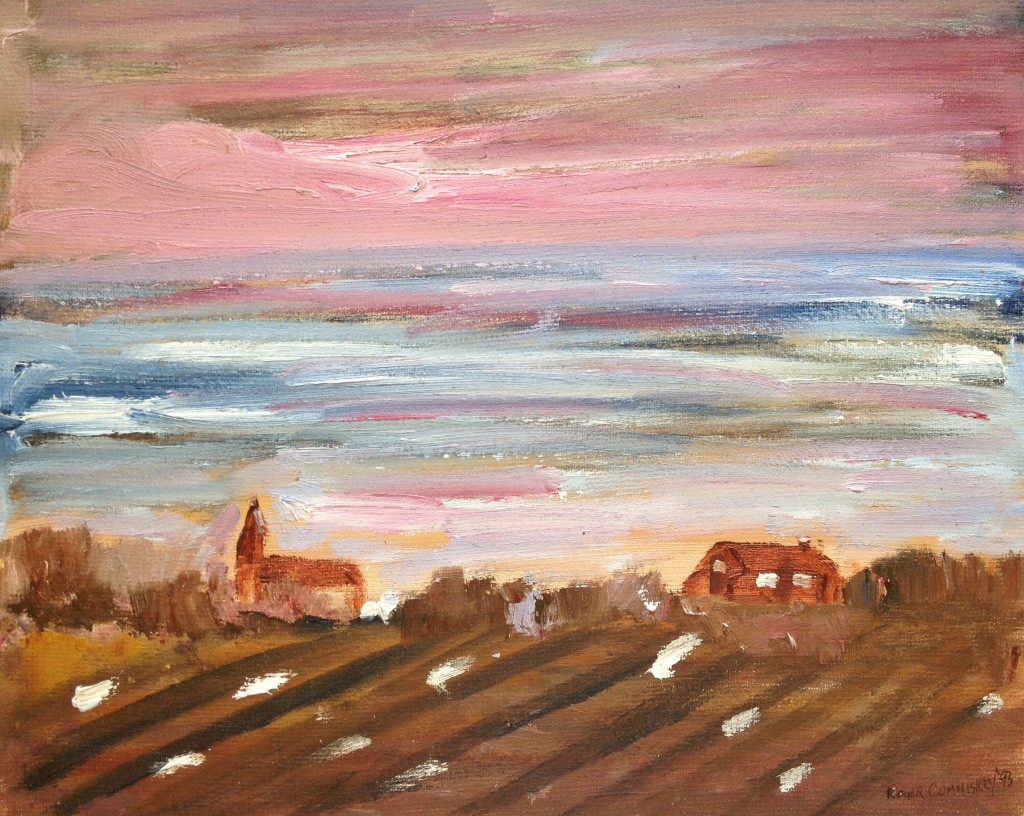 Sky over Village. attic 2011 Roger Cummiskey.