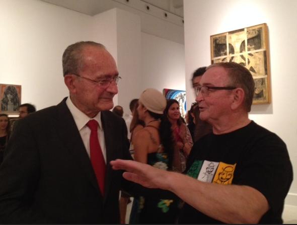 Mayor of Malaga at opening Shepard Fairey at CAC