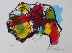 1. Nelson Dominguez - 16 x 11.5 cm. 6.25 x 4.5 ins. Rostro de Mujer (face) 40:50