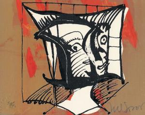 Nelson Dominguez - 10 x 8 cms. Mascara Africana (African mask). 35:90