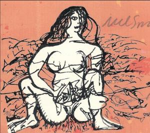 Nelson Dominguez - 10 x 8 cms. Mujer con pescado
