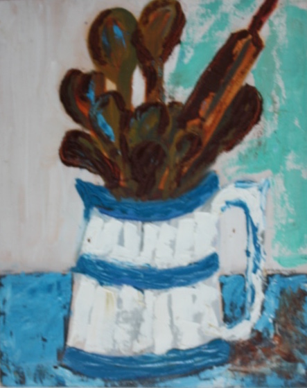 0100 -Blue and white jug - oil